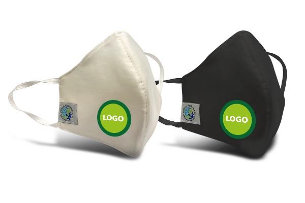 Fair Trade Mundschutzmasken weiss und schwarz mit Logo